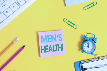 Text sign showing Men S Health. Business photo showcasing state of complete physical mental and social well being by analysis Flat lay above copy space on the white crumpled paper Banco de Imagens