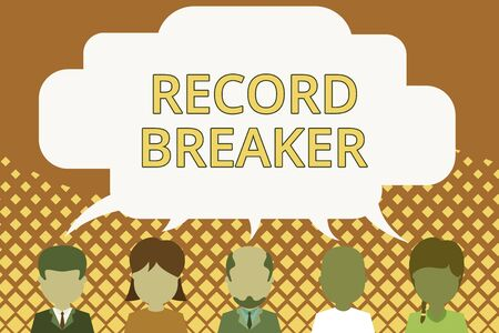 Word writing text Record Breaker. Business photo showcasing someone or something that beats previous best result Five different races persons sharing blank speech bubble. People talking