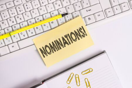 Text sign showing Nominations. Business photo text action of nominating or state being nominated for prize Empty orange square papers by the pc keyboard with copy space Stock Photo