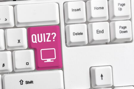 Conceptual hand writing showing Quiz Question. Concept meaning test of knowledge as competition between individuals or teams White pc keyboard with note paper above the white background Stock fotó - 129363817