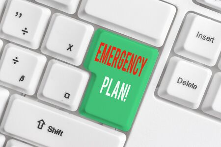 Text sign showing Emergency Plan. Business photo showcasing actions developed to mitigate damage of potential events White pc keyboard with empty note paper above white background key copy space