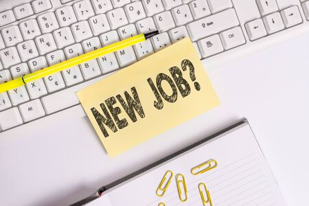 Text sign showing New Job Question. Business photo text formal meeting which someone asked find out if they are suitable Empty orange square papers by the pc keyboard with copy space 写真素材 - 129364844
