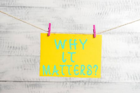 Conceptual hand writing showing Why It Matters question. Concept meaning ask demonstrating about something he think is important Clothespin rectangle shaped paper reminder white wood desk Stock fotó - 129365566