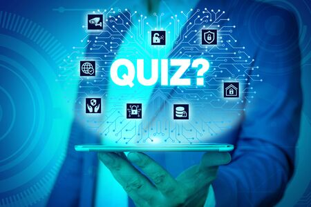Text sign showing Quiz Question. Business photo text test of knowledge as competition between individuals or teams Male human wear formal work suit presenting presentation using smart device Stock fotó - 129376327