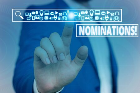 Text sign showing Nominations. Business photo showcasing action of nominating or state being nominated for prize Male human wear formal work suit presenting presentation using smart device