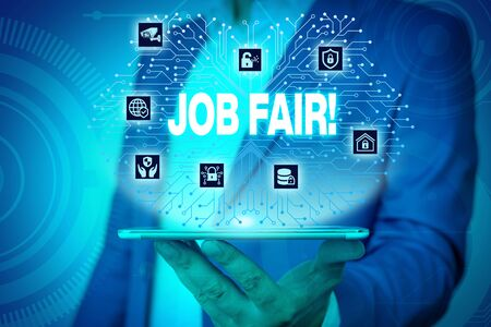 Text sign showing Job Fair. Business photo text event in which employers recruiters give information to employees Male human wear formal work suit presenting presentation using smart device