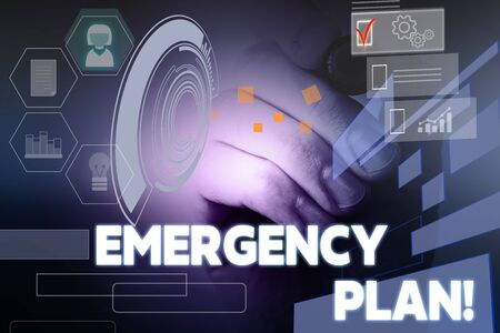 Text sign showing Emergency Plan. Business photo showcasing actions developed to mitigate damage of potential events Male human wear formal work suit presenting presentation using smart device 版權商用圖片