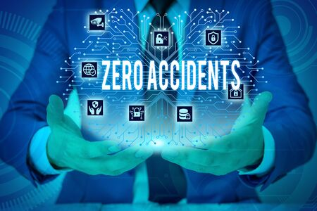 Text sign showing Zero Accidents. Business photo showcasing important strategy for preventing workplace accidents Male human wear formal work suit presenting presentation using smart device