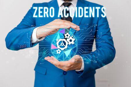 Escritura de texto escrito, cero accidentes. Foto conceptual estrategia importante para la prevención de accidentes en el lugar de trabajo Hombre net engranajes burbuja manos traje maquinaria cosas oficina dispositivo tecnológico