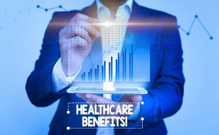 Writing note showing Healthcare Benefits. Business concept for monthly fair market valueprovided to Employee dependents bar char improvement line smartphone computer office technology device