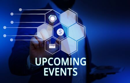 Word writing text Upcoming Events. Business photo showcasing the approaching planned public or social occasions Male human wear formal work suit presenting presentation using smart device