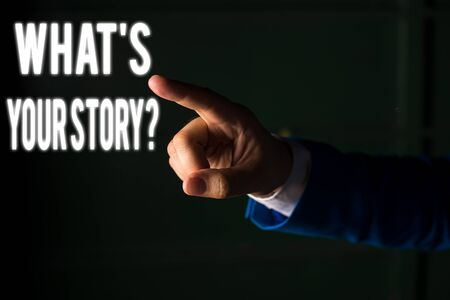 Word writing text What S Your Story Question. Business photo showcasing asking demonstrating about his past life actions career or events Isolated hand pointing with finger. Business concept pointing  写真素材