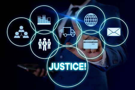 Text sign showing Justice. Business photo showcasing impartial adjustment of conflicting claims or assignments Male human wear formal work suit presenting presentation using smart device 写真素材