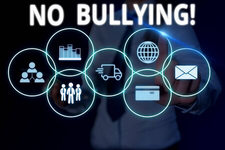 Text sign showing No Bullying. Business photo text stop aggressive behavior among children power imbalance Woman wear formal work suit presenting presentation using smart device