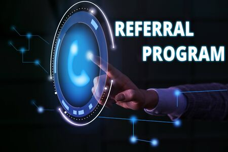 Handwriting text Referral Program. Conceptual photo employees are rewarded for introducing suitable recruits Lady presenting hand blue glow futuristic modern technology tech look contact 写真素材