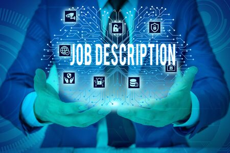 Text sign showing Job Description. Business photo showcasing a formal account of an employee s is responsibilities Male human wear formal work suit presenting presentation using smart device