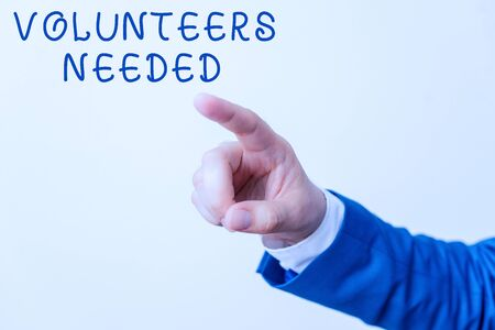 Word writing text Volunteers Needed. Business photo showcasing need work or help for organization without being paid Isolated hand pointing with finger. Business concept pointing finger Banque d'images - 129641979