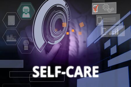 Writing note showing Self Care. Business concept for practice of taking action preserve or improve ones own health Woman wear formal work suit presenting presentation using smart device Stockfoto