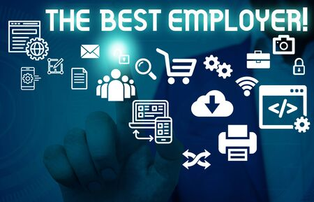 Writing note showing The Best Employer. Business concept for created workplace showing feel heard and empowered Male human wear formal suit presenting using smart device Banque d'images - 129642148