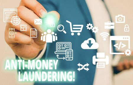 Text sign showing Anti Money Laundering. Business photo text regulations stop generating income through illegal actions Male human wear formal work suit presenting presentation using smart device Stock Photo