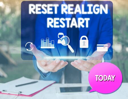 Text sign showing Reset Realign Restart. Business photo text Life audit will help you put things in perspectives man icons smartphone speech bubble office supplies technological device