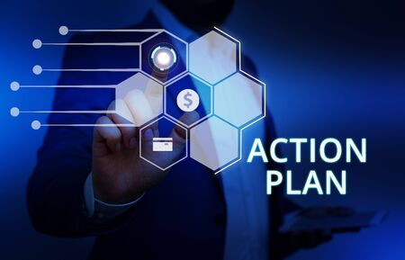 Word writing text Action Plan. Business photo showcasing detailed plan outlining actions needed to reach goals or vision Male human wear formal work suit presenting presentation using smart device