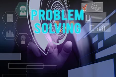 Text sign showing Problem Solving. Business photo text process of finding solutions to difficult or complex issues Male human wear formal work suit presenting presentation using smart device
