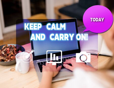 Text sign showing Keep Calm And Carry On. Business photo showcasing slogan calling for persistence face of challenge woman icons computer speech bubble office supplies technological device