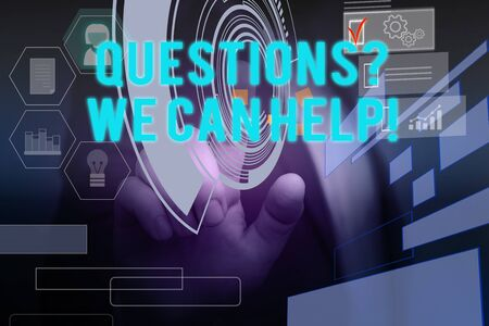 Text sign showing Questionsquestion We Can Help. Business photo text offering help to those who wants to know Male human wear formal work suit presenting presentation using smart device Foto de archivo