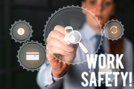 Word writing text Work Safety. Business photo showcasing policies and procedures in place to ensure health of employees Woman wear formal work suit presenting presentation using smart device