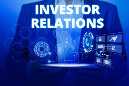 Text sign showing Investor Relations. Business photo text analysisagement responsibility that integrates finance Male human wear formal work suit presenting presentation using smart device