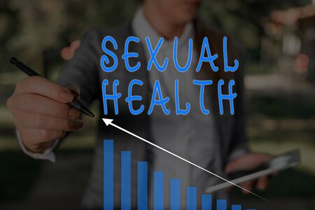 Word writing text Sexual Health. Business photo showcasing positive and respectful approach to sexual relationships Woman wear formal work suit presenting presentation using smart device