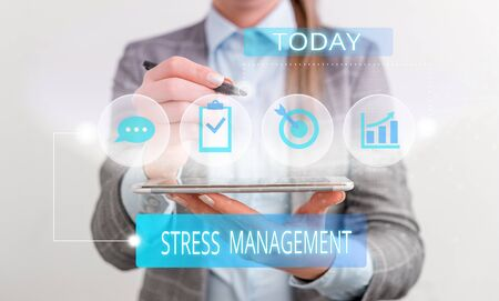 Handwriting text Stress Management. Conceptual photo method of limiting stress and its effects by learning ways Female human wear formal work suit presenting presentation use smart device Stock fotó