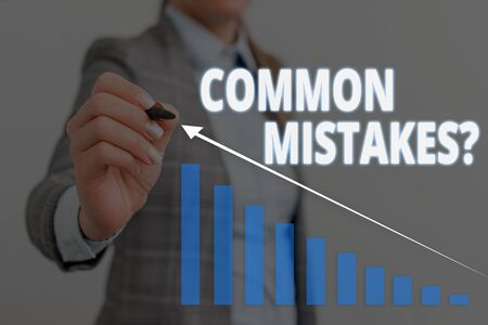 Handwriting text Common Mistakes question. Conceptual photo repeat act or judgement misguided or wrong Woman wear formal work suit presenting presentation using smart device