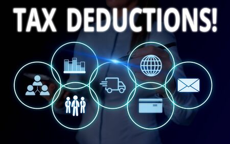 Conceptual hand writing showing Tax Deductions. Concept meaning reduction income that is able to be taxed of expenses Woman wear work suit presenting presentation smart device
