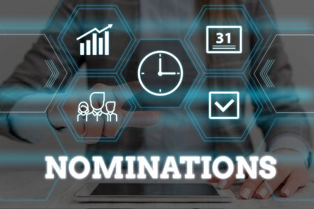 Handwriting text Nominations. Conceptual photo the act of officially suggesting someone for a job or position Woman wear formal work suit presenting presentation using smart device