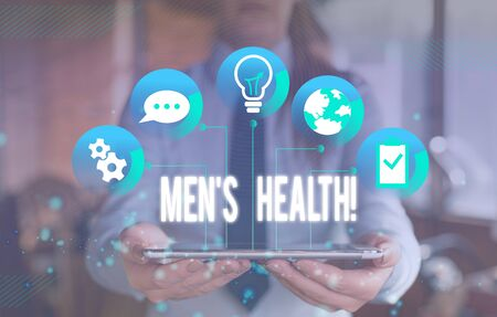 Writing note showing Men S Health. Business concept for state of complete physical mental and social well being by analysis Female human wear formal work suit presenting smart device
