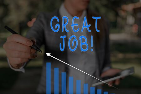 Word writing text Great Job. Business photo showcasing sed for telling someone that they have done something well Woman wear formal work suit presenting presentation using smart device