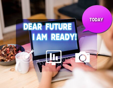 Text sign showing Dear Future I Am Ready. Business photo showcasing Confident to move ahead or to face the future woman icons computer speech bubble office supplies technological device