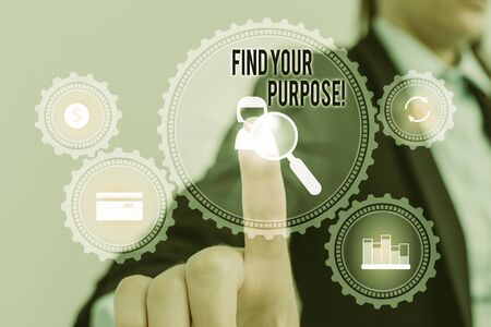 Word writing text Find Your Purpose. Business photo showcasing reason for something is done or for which still exists Woman wear formal work suit presenting presentation using smart device