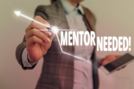 Handwriting text writing Mentor Needed. Conceptual photo Employee training under senior assigned act as advisor