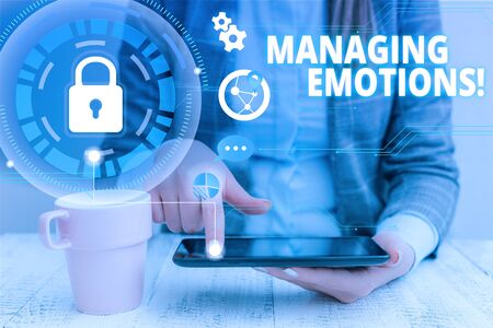 Text sign showing Managing Emotions. Business photo showcasing ability be open to feelings and modulate them in oneself woman icons smartphone computer tablet office supply technological device