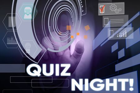 Conceptual hand writing showing Quiz Night. Concept meaning evening test knowledge competition between individuals Male wear formal suit presenting presentation smart device 写真素材