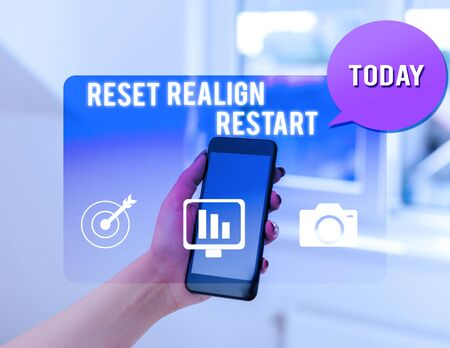 Text sign showing Reset Realign Restart. Business photo text Life audit will help you put things in perspectives woman icons smartphone speech bubble office supplies technological device