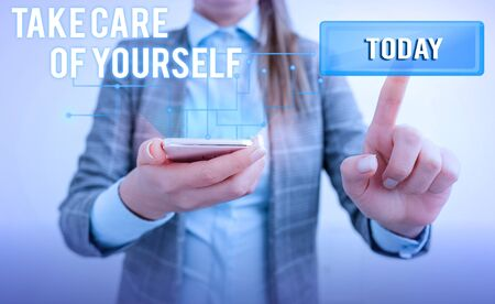 Word writing text Take Care Of Yourself. Business photo showcasing a polite way of ending a gettogether or conversation Lady front presenting hand blue glow futuristic modern technology tech look