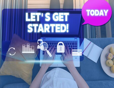Conceptual hand writing showing Let S Get Started. Concept meaning encouraging someone to begin doing something woman smartphone speech bubble office supplies technology Zdjęcie Seryjne