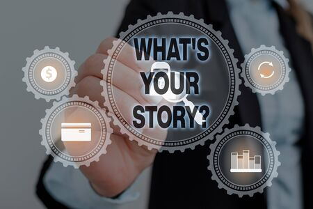 Text sign showing What S Is Your Story question. Business photo text being asked by someone about my own journey from beginning till now Woman wear formal work suit presenting presentation using smart device Standard-Bild