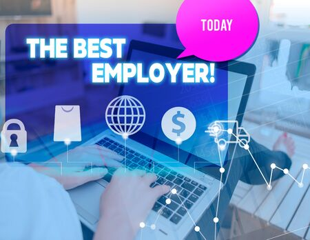 Handwriting text The Best Employer. Conceptual photo created workplace showing feel heard and empowered woman icons computer speech bubble office supplies technological device Фото со стока