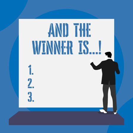 Text sign showing And The Winner Is. Business photo text announcing who got first place at competition or exam Back view young man dressed suit standing platform facing blank rectangle Archivio Fotografico - 129670477