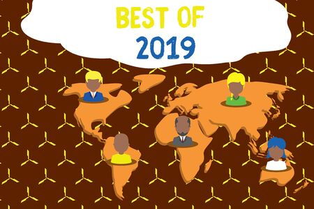 Writing note showing Best Of 2019. Business concept for great and marvelous things and events happened on 2019 Connection multiethnic persons all Global business earth map
